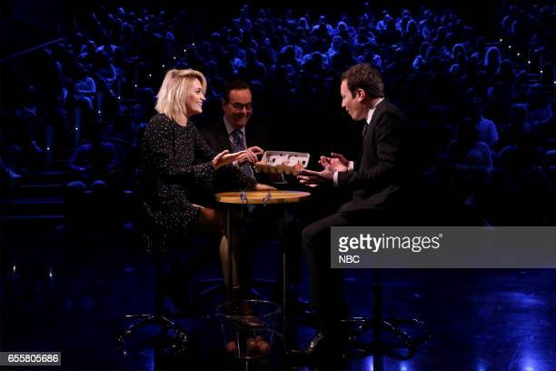 Actress Paris Jackson announcer Steve Higgins and host Jimmy Fallon play 'Egg Russian Roulette' on March 20 2017
