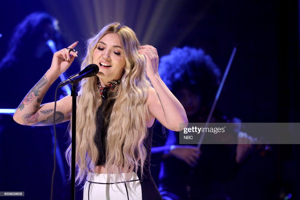 Musical guest Julia Michaels performs on March 20, 2017 -- (Photo by: Andrew Lipovsky/NBC/NBCU Photo Bank via Getty Images))