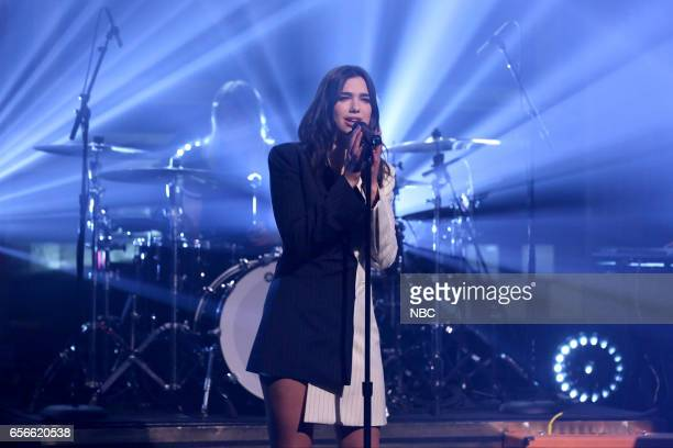 Musical guest Dua Lipa performs on March 22 2017