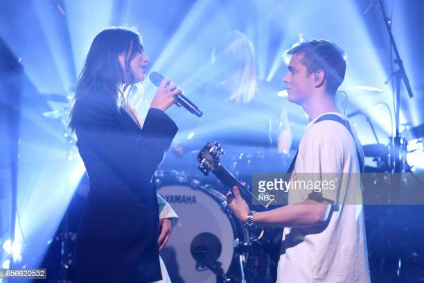 Musical guests Martin Garrix and Dua Lipa perform on March 22 2017