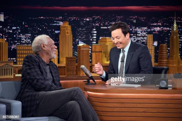 Actor Morgan Freeman during an interview with host Jimmy Fallon on March 24 2017