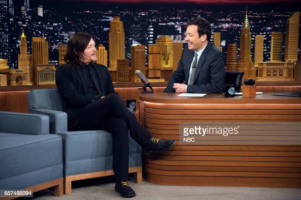 Actor Norman Reedus during an interview with host Jimmy Fallon on March 24 2017