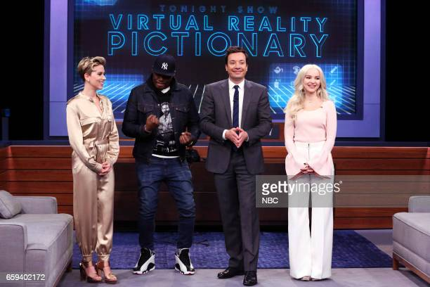 Actress Scarlett Johansson comedian Michael Che host Jimmy Fallon and actress Dove Cameron during 'VR Pictionary' on March 27 2017