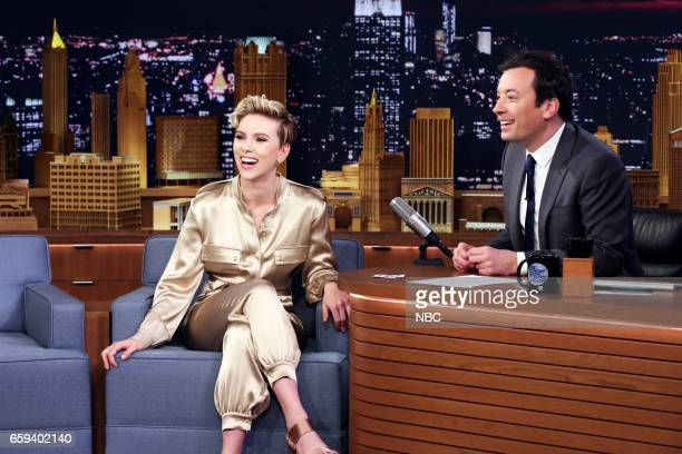 Actress Scarlett Johansson during an interview with host Jimmy Fallon on March 27 2017