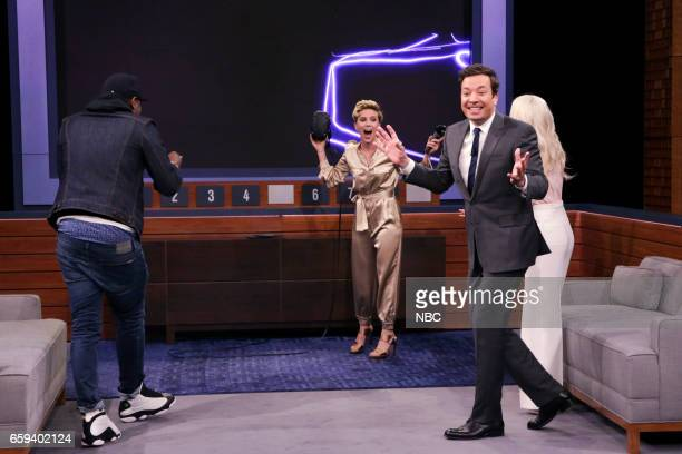 Comedian Michael Che actress Scarlett Johansson host Jimmy Fallon and actress Dove Cameron during 'VR Pictionary'on March 27 2017