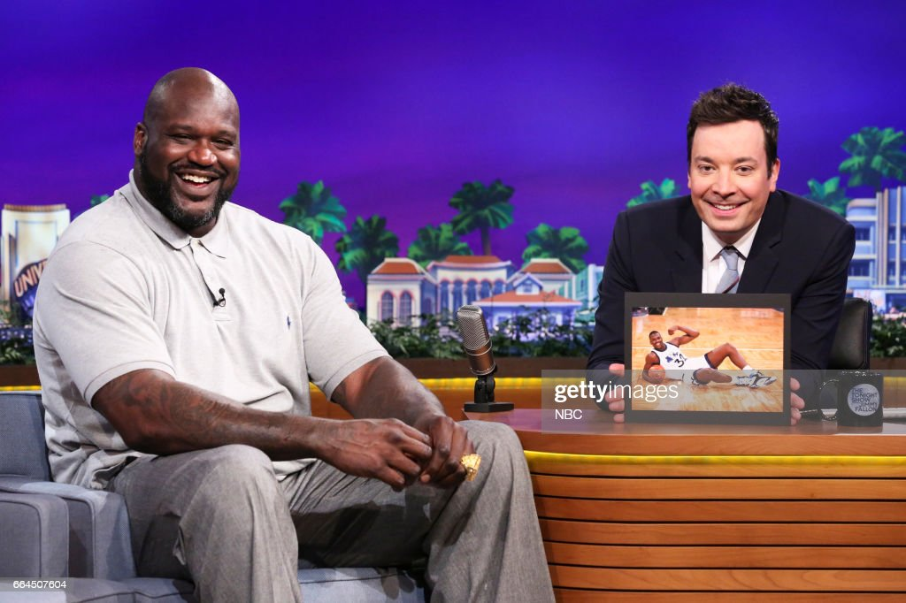 Basketball player Shaquille O'Neal during an interview with host Jimmy Fallon on April 3, 2017 --