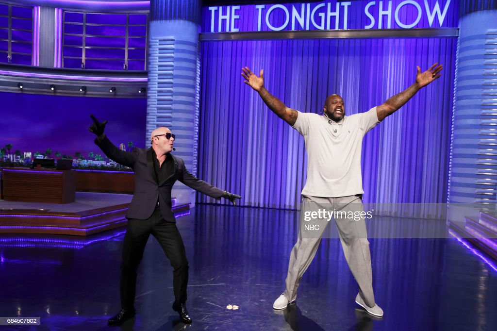 Musical guest Pitbull and basketball player Shaquille O'Neal during Lip Sync Battle on April 3, 2017 --