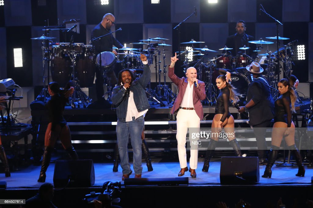 Musical guest Pitbull featuring Stephen Marley performs on April 3, 2017 --