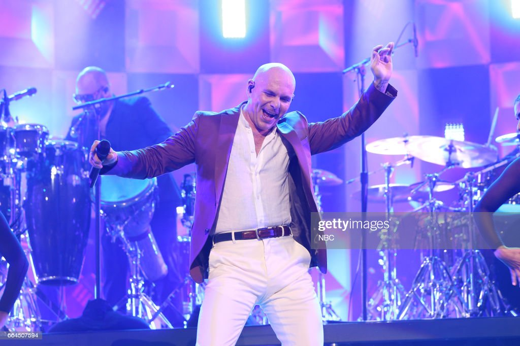 Musical guest Pitbull performs on April 3, 2017 --