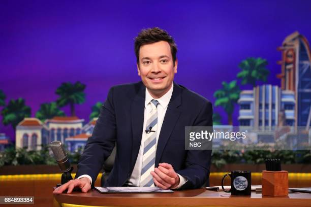 Host Jimmy Fallon arrives at his desk on April 4 2017