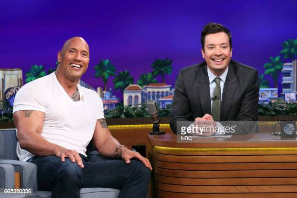 Actor Dwayne Johnson during an interview with host Jimmy Fallon on April 5 2017