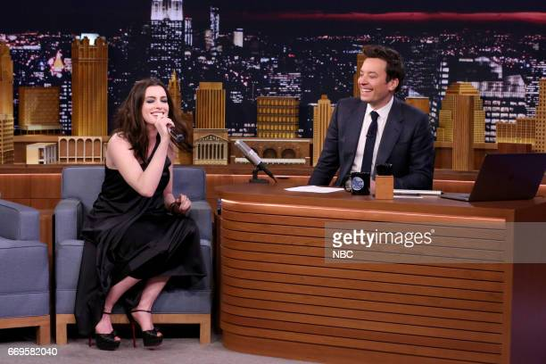 Actress Anne Hathaway and host Jimmy Fallon play 'Google Translate Songs' on April 17 2017