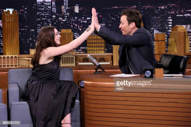 Actress Anne Hathaway during an interview with host Jimmy Fallon on April 17 2017