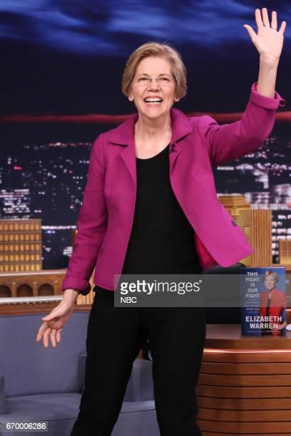 Senator Elizabeth Warren arrives on April 18 2017
