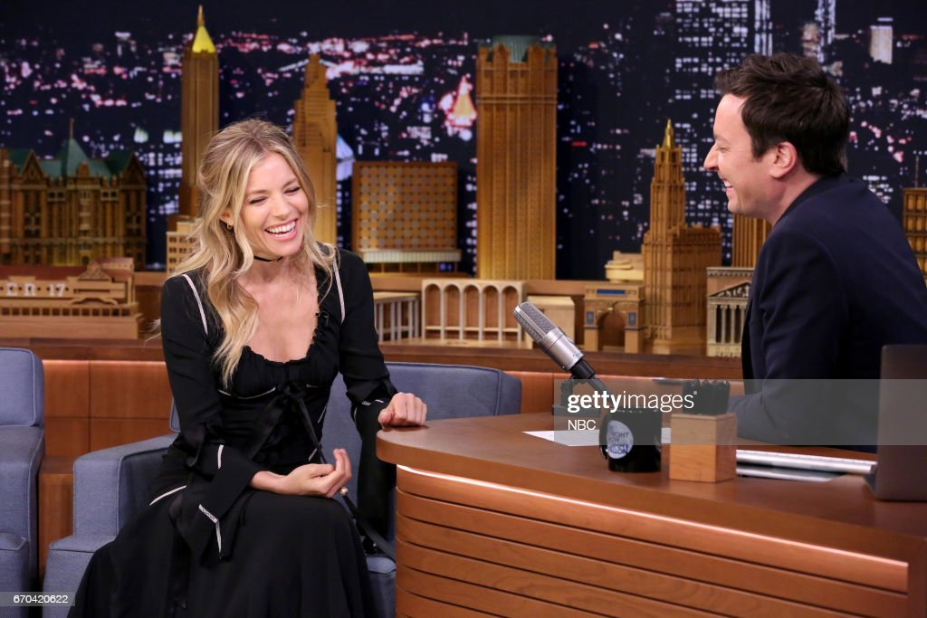 Actress Sienna Miller and host Jimmy Fallon during an interview on April 19, 2017 --
