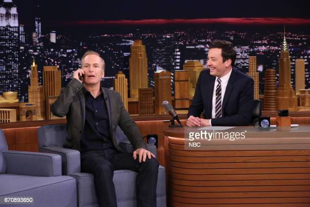 Comedian Bob Odenkirk during an interview with host Jimmy Fallon on April 20 2017