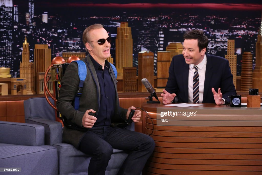 Comedian Bob Odenkirk during an interview with host Jimmy Fallon on April 20, 2017 --