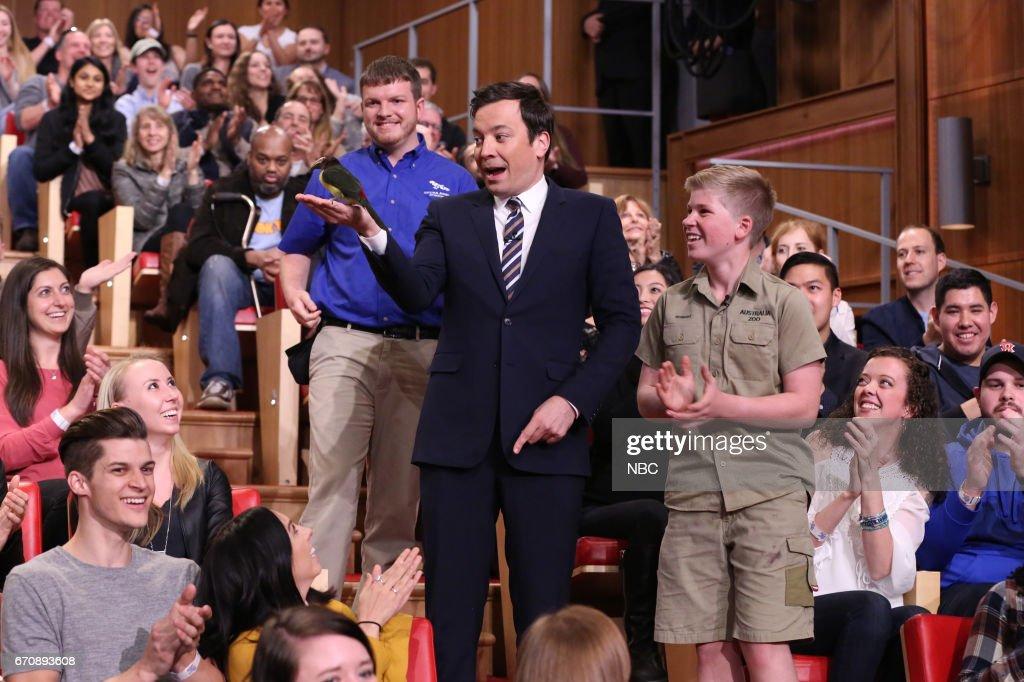Host Jimmy Fallon with animal expert Robert Irwin on April 20, 2017 --