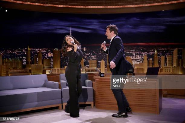 Actress Salma Hayek sings 'How to be a Latin Lover' with host Jimmy Fallon on April 21 2017