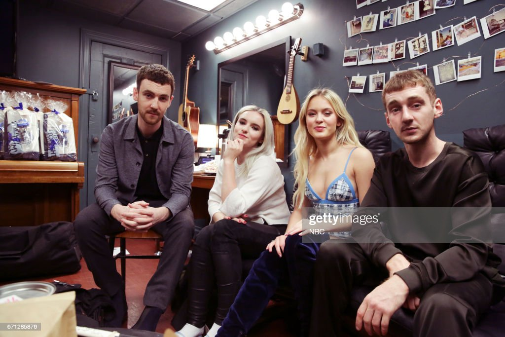Jack Patterson, Grace Chatton from 'Clean Bandit' with Zara Larsson and Luke Patterson from 'Clean Bandit' on April 21, 2017 --