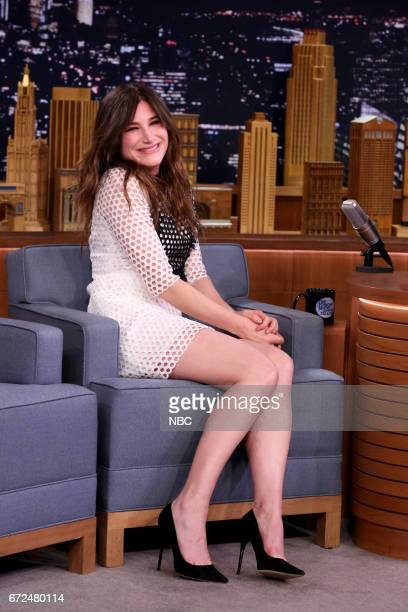 Comedian Kathryn Hahn with host Jimmy Fallon during interview on April 24 2017
