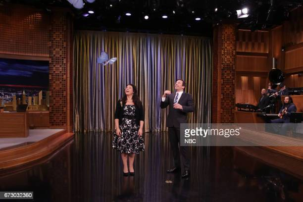 Inventor Andrea Zio with host Jimmy Fallon during 'Tonight Showbotics' on April 25 2017