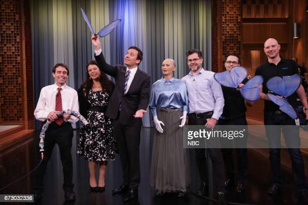 Inventor Howie Choset with 'Snakebite' Andrea Zio host Jimmy Fallon and inventor David Hanson with 'Sophia' during 'Tonight Showbotics' on April 25...