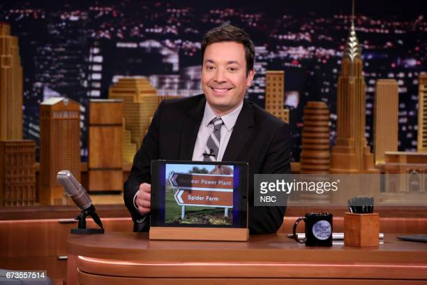 Host Jimmy Fallon at his desk during 'Bad Signs' on April 26 2017