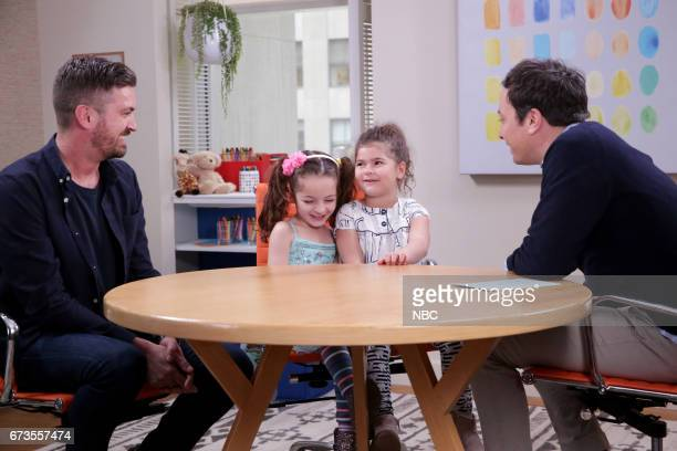 Host Jimmy Fallon with kids and their parents during 'Take Your Parents to Work' on April 26 2017