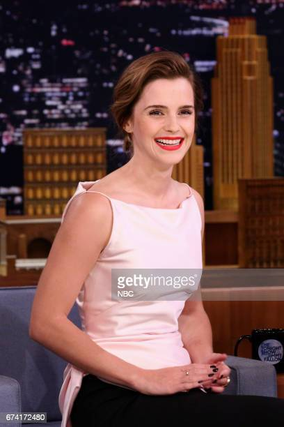 Actress Emma Watson during an interview with host Jimmy Fallon on April 27 2017