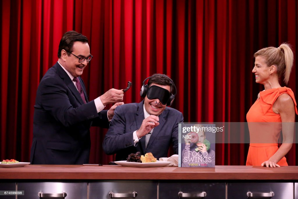 Announcer Steve Higgins, host Jimmy Fallon with chef/author Jessica Seinfeld during 'Senseless Eating' on April 28, 2017 --