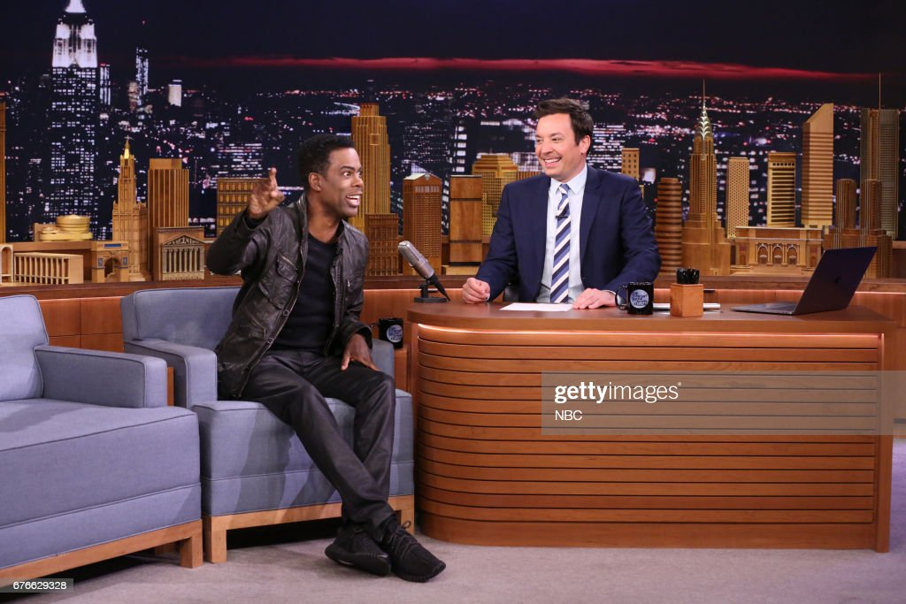 Comedian Chris Rock with host Jimmy Fallon during an interview on May 2, 2017 --