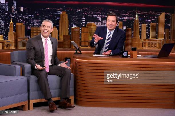 Talk Show Host Andy Cohen with host Jimmy Fallon during an interview on May 2 2017