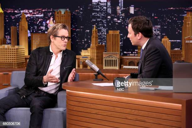 Actor Kevin Bacon with host Jimmy Fallon during an interview on May 8 2017