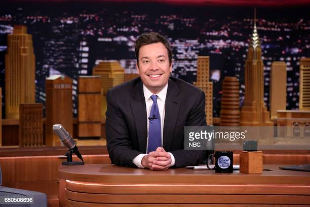 Host Jimmy Fallon at his desk on May 8 2017