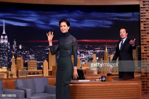 Actress Katherine Waterston arrives for an interview with host Jimmy Fallon on May 9 2017
