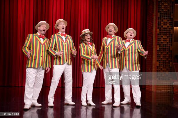 Tom Shillue comedian Tina Fey host Jimmy Fallon and Chris Tartaro during 'Ragtime Gals Sing 'That's What I Like'' on May 10 2017