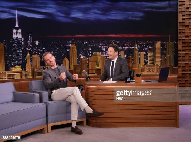 Actor Michael Fassbender during an interview with host Jimmy Fallon on May 15 2017