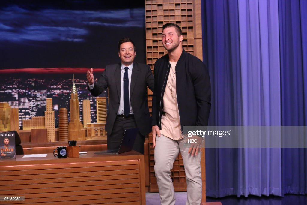 Athlete Tim Tebow arrives for an interview with Jimmy Fallon on May 17, 2017 --