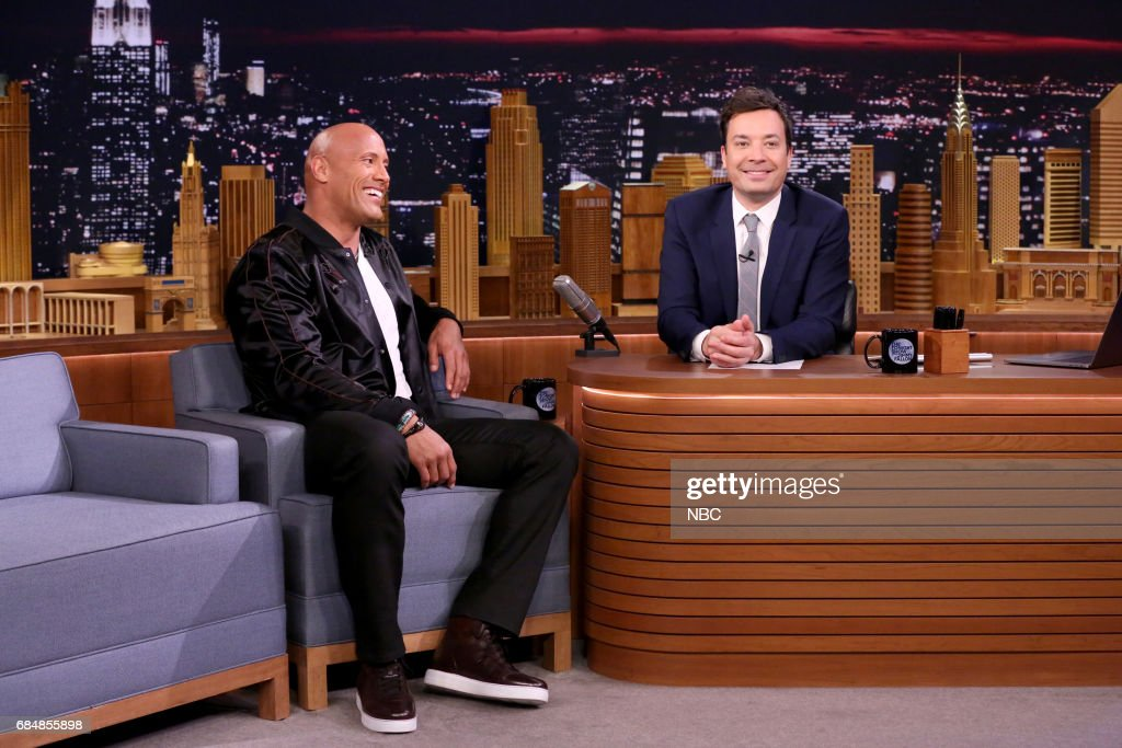Dwayne Johnson with host Jimmy Fallon during an interview on May 18, 2017 --