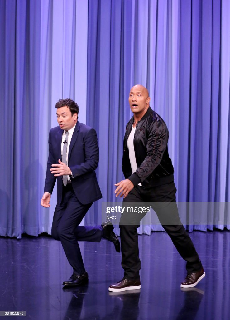 Host Jimmy Fallon as Dwayne Johnson arrives for an interview on May 18, 2017 --
