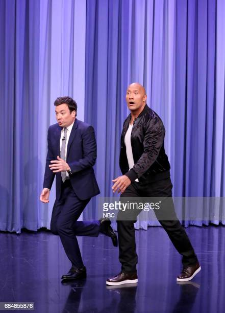 Host Jimmy Fallon as Dwayne Johnson arrives for an interview on May 18 2017