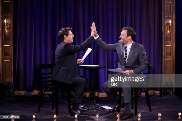 Actor Tom Cruise with host Jimmy Fallon during 'Kid Theater' on June 6 2017