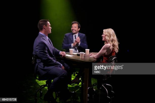 Professional wrestler John Cena host Jimmy Fallon and actress Kate McKinnon play 'True Confessions' on June 9 2017
