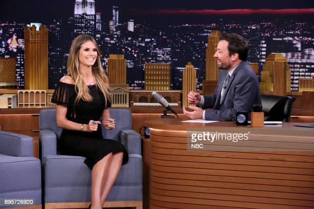 Model Heidi Klum during an interview with host Jimmy Fallon on June 13 2017