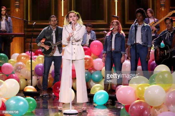 Musical Guest/CoHost Miley Cyrus performs 'Malibu' on June 14 2017