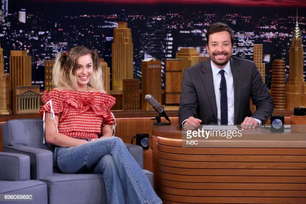 Musical Guest/CoHost Miley Cyrus with Host Jimmy Fallon during an interview on June 14 2017