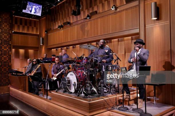 "Mark Kelley Kirk ""Captain Kirk"" Douglas Ahmir 'Questlove' Thompson and Tariq ""Black Thought"" Trotter of The Roots during the opening monologue on..."