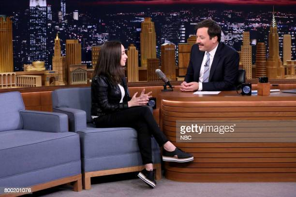 Comedian Ali Kolbert during an interview with host Jimmy Fallon on June 23 2017
