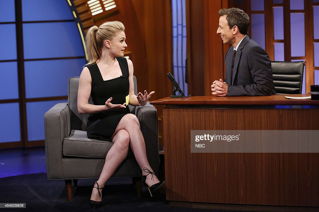 Actress <a gi-track='captionPersonalityLinkClicked' href=/galleries/search?phrase=Anna+Paquin&family=editorial&specificpeople=211602 ng-click='$event.stopPropagation()'>Anna Paquin</a> during an interview with host <a gi-track='captionPersonalityLinkClicked' href=/galleries/search?phrase=Seth+Meyers&family=editorial&specificpeople=618859 ng-click='$event.stopPropagation()'>Seth Meyers</a> on July 15, 2014 --